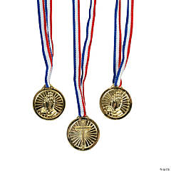 Plastic Religious Goldtone Medals
