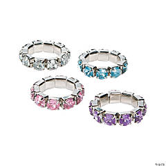 Plastic Rhinestone Stretch Rings
