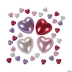 Plastic Self-Adhesive Pearl Hearts