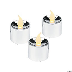 Plastic Silver Battery-Operated Votive Candles