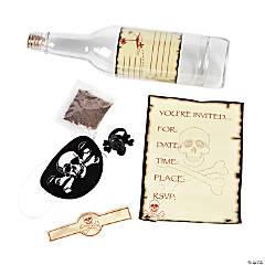 Plastic Skull & Crossbones Invitations in A Bottle