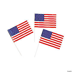 "Plastic Small American Flags - 6"" x 4"""