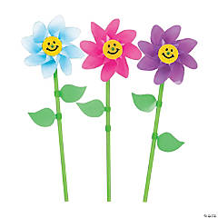 Plastic Smile Face Flower Pinwheels - 36 Pc.