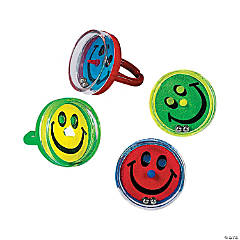 Plastic Smile Face Pill Puzzle Rings