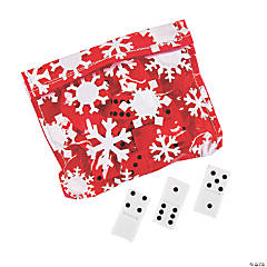 Plastic Snowflake Dominoes in Vinyl Case