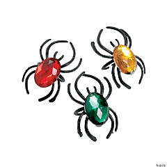 Plastic Spider Rings with Jewels