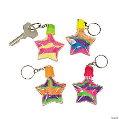 Plastic Star Sand Art Bottle Keychains