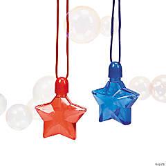 Plastic Star-Shaped Bubble Bottle Necklaces - 12 Pc.