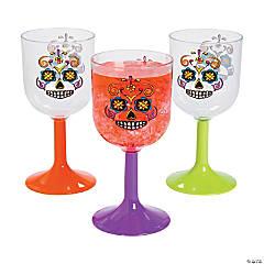 Plastic Sugar Skulls Wine Glasses