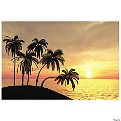 Plastic Sunset Beach Backdrop Banner