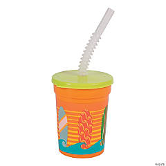 Plastic Surf's Up Tumblers with Lids & Straw