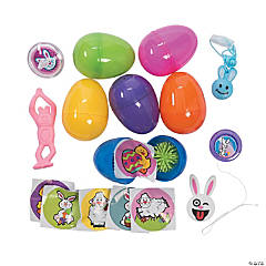 Plastic Toy-Filled Bright Easter Eggs