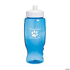 Plastic Transparent Blue Paw Print Personalized Water Bottles - 27 oz.