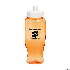 Plastic Transparent Orange Paw Print Personalized Water Bottles - 27 oz.