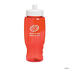 Plastic Transparent Red Superhero Personalized Water Bottles - 27 oz.