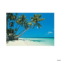 Plastic Tropical Beach Backdrop Banner