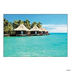 Plastic Tropical Cabana Backdrop Banner