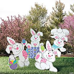 Plastic Tumbling Bunnies Yard Stakes