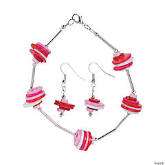 Plastic Valentine Button Bracelet & Earrings Craft Kit