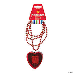 Plastic Valentine Necklaces with Light-Up Heart