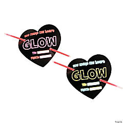 Plastic Valentine's Day Cards with Glow Bracelets