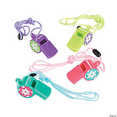 Plastic Winter Brights Printed Whistles