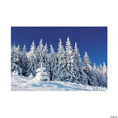 Plastic Winter Scene Backdrop Banner