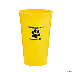 Plastic Yellow Paw Print Personalized Tumblers
