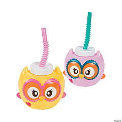 Plastic You're A Hoot Cups with Lids & Straws