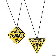 Plastic Zombie Warning Sign Necklaces
