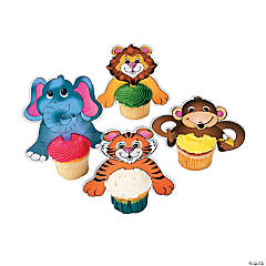 Plastic Zoo Animal Character Cupcake Picks
