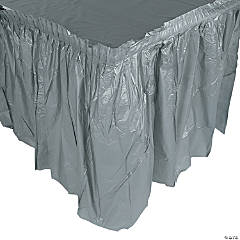 Pleated Silver Table Skirt