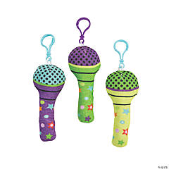 Plush Microphone Backpack Clip Keychains