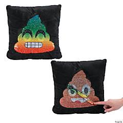 Plush Poop Emoji Flipping Sequin Pillow