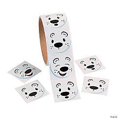 Polar Bear Face Sticker Rolls