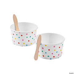 Polka Dot Ice Cream Cups with Spoons