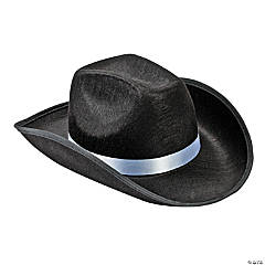 Polyester Adult's Black Cowboy Hat