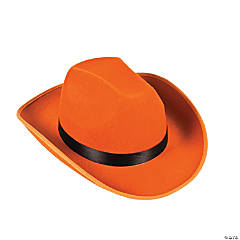 Polyester Adult's Orange Cowboy Hat