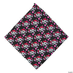 Polyester Black Pirate Skull & Heart Bandana