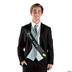 Polyester Black Prom King Sash
