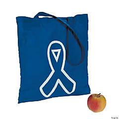 Polyester Blue Awareness Ribbon Tote Bags