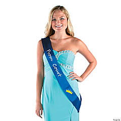 Polyester Blue Prom Court Sash