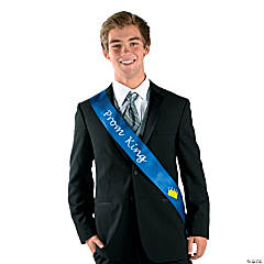 Polyester Blue Prom King Sash