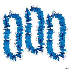 Polyester Blue Tinsel Leis