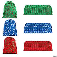 Polyester Holiday Print Drawstring Bags