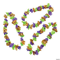 Polyester Mardi Gras Flower Lei
