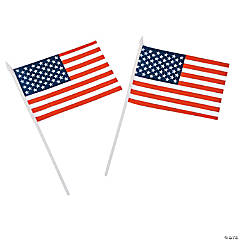 Polyester Medium American Flags on Plastic Sticks