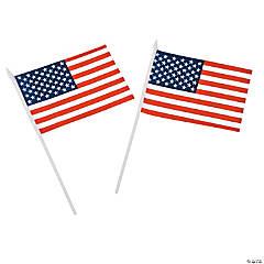 Polyester Medium American Flags on Plastic Sticks