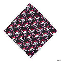 Polyester Pink Pirate Skull & Heart Bandana