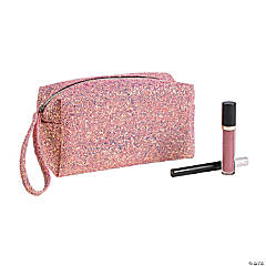 Polyester Pink Sparkle Makeup Bag